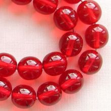 8mm Round Czech Glass Beads Ruby - 25